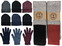 Yacht & Smith Mens 3 Piece Winter Set , Thermal Crew Socks Gloves And Beanie Hat