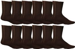 Yacht & Smith Womens Soft Athletic Crew Socks, Terry Cotton Cushion, Sock Size 9-11 Brown