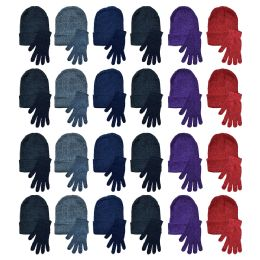 Yacht & Smith Womens Warm Winter Hats And Glove Set Assorted Colors 96 Pieces